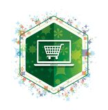 Online shopping cart laptop icon floral plants pattern green hexagon button royalty free illustration