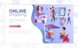 Online Shopping Web Banner Cartoon Vector Template stock illustration