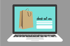 Online shopping on check out page with shopping bag Stock Images
