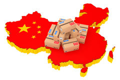 Online Shopping in China Concept. Parcels over China Map. 3d Ren Stock Images