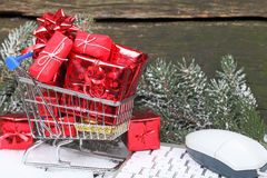 Online shopping Christmas gifts Royalty Free Stock Photography