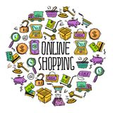 Online shopping circle Royalty Free Stock Photography
