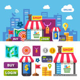 Online shopping. Color vector flat icon set and illustration Stock Photos
