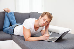 Online shopping from the comfort of your home Stock Photos