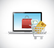 Online shopping. computer concept stock illustration
