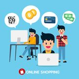 Online shopping on computer, laptop and mobile with QR code, bitcoin, credit card, money Stock Photo