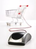 Shopping Cart with Computer Mouse Stock Photos