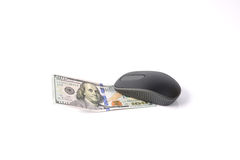 Online Shopping. Computer mouse over 100 dollar bill Royalty Free Stock Photos