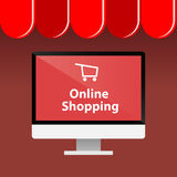 Online Shopping With Computer Royalty Free Stock Image