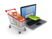 Online shopping concept. On white background.3d rendered Stock Photos