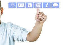Online shopping concept. A finger on a virtual screen showing online shopping concept Royalty Free Stock Photography