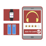 Online shopping concept. With add to cart button royalty free illustration