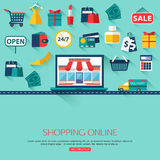 Online shopping concept background with place for Stock Photography