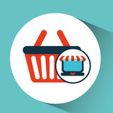Online shopping concept basket buy icon Royalty Free Stock Images