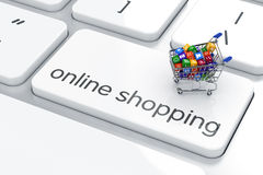 Online shopping concept. Shopping cart isolated on the computer keyboard. Online shopping concept Stock Illustration