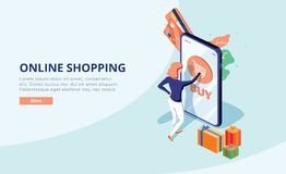 Online shopping concept with character. Sale and consumerism. Young woman shop online using smartphone. Web banner. Online shopping concept with character. Sale vector illustration