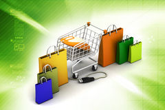 Online shopping concept. In color background Stock Image