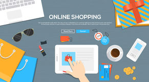 Online shopping banner with bags and icons stock photo for Design on line outlet