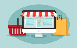Online shopping concept with computer which look like the shop, shopping bag and basket. illustration. Online shopping concept with computer which look like the Royalty Free Stock Image