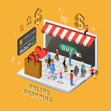 Online shopping concept. In 3d isometric flat design Stock Photography