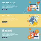 Online shopping concept desktop with computer, table,  bags, credit cards, coupons and products. Vector Royalty Free Stock Image
