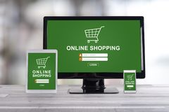 Online shopping concept on different devices. Online shopping concept shown on different information technology devices royalty free stock photo