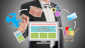 Online shopping concept drawn by a businessman. In background Royalty Free Stock Photos