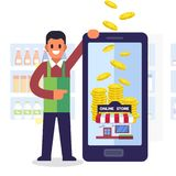 Online shopping concept. Earn money services with smartphone Stock Photos
