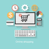 Online shopping concept, flat design with long shadow Royalty Free Stock Images