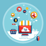 Online shopping concept in flat design Royalty Free Stock Images