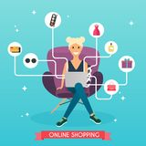 Online shopping concept. Girl do shopping from home. Flat design. Style modern vector illustration concept Royalty Free Stock Image