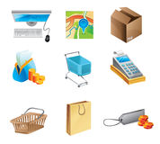 Online shopping concept - icon set Stock Photos