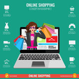 Online shopping concept infographics in vector. Woman from laptop Stock Image