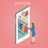 Online Shopping Concept in Isometric Style. Woman with Smart Phone. Vector illustration Royalty Free Stock Photo