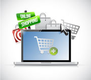 Online shopping concept. laptop illustration Royalty Free Stock Image