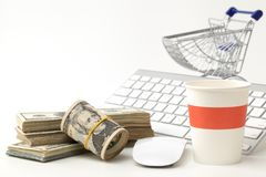 Online shopping concept. Market, metallic. Royalty Free Stock Images