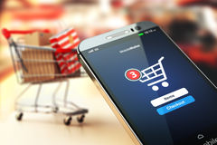Online shopping concept nackground. Mobile phone or smartphone w Royalty Free Stock Photo