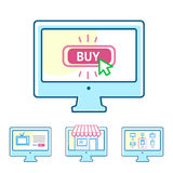Online shopping concept set Stock Photo