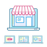 Online shopping concept set Stock Images
