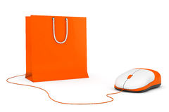 Online Shopping Concept. Shopping Bag and computer mouse Royalty Free Stock Photography