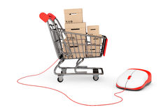 Online Shopping Concept. Shopping Cart with boxes connected to a. Computer Mouse on a white background Stock Photography