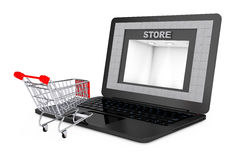 Online Shopping Concept. Shoppping Cart over Laptop with Store B Royalty Free Stock Images