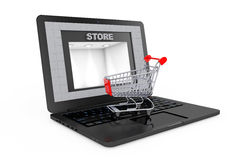 Online Shopping Concept. Shoppping Cart over Laptop with Store B Royalty Free Stock Photos