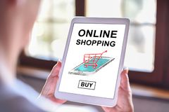 Online shopping concept on a tablet. Tablet screen displaying an online shopping concept royalty free stock images