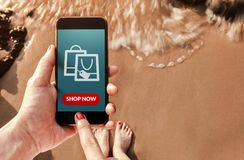 Online Shopping Concept, Top view of Woman using Smart Phone wit Stock Images