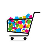 Online shopping concept. Trolley with full of drink glasses vector Stock Photography