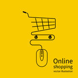 Online shopping concept. Vector illustration minimal design. Computer mouse connect to the shopping basket. Modern technology e-shopping. Purchases in internet Royalty Free Stock Images