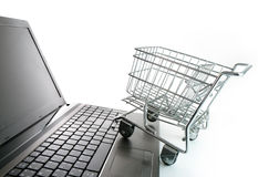 Online shopping concept. Online shopping on white background concept Stock Photography