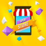 Online shopping concept with yellow background Royalty Free Stock Image