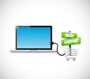 Online shopping connection computer illustration Stock Photos